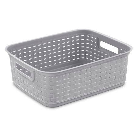 "Sterilite 12726A06 Cement Short Weave Basket - 15"" x 12.25"" x 5.25"""