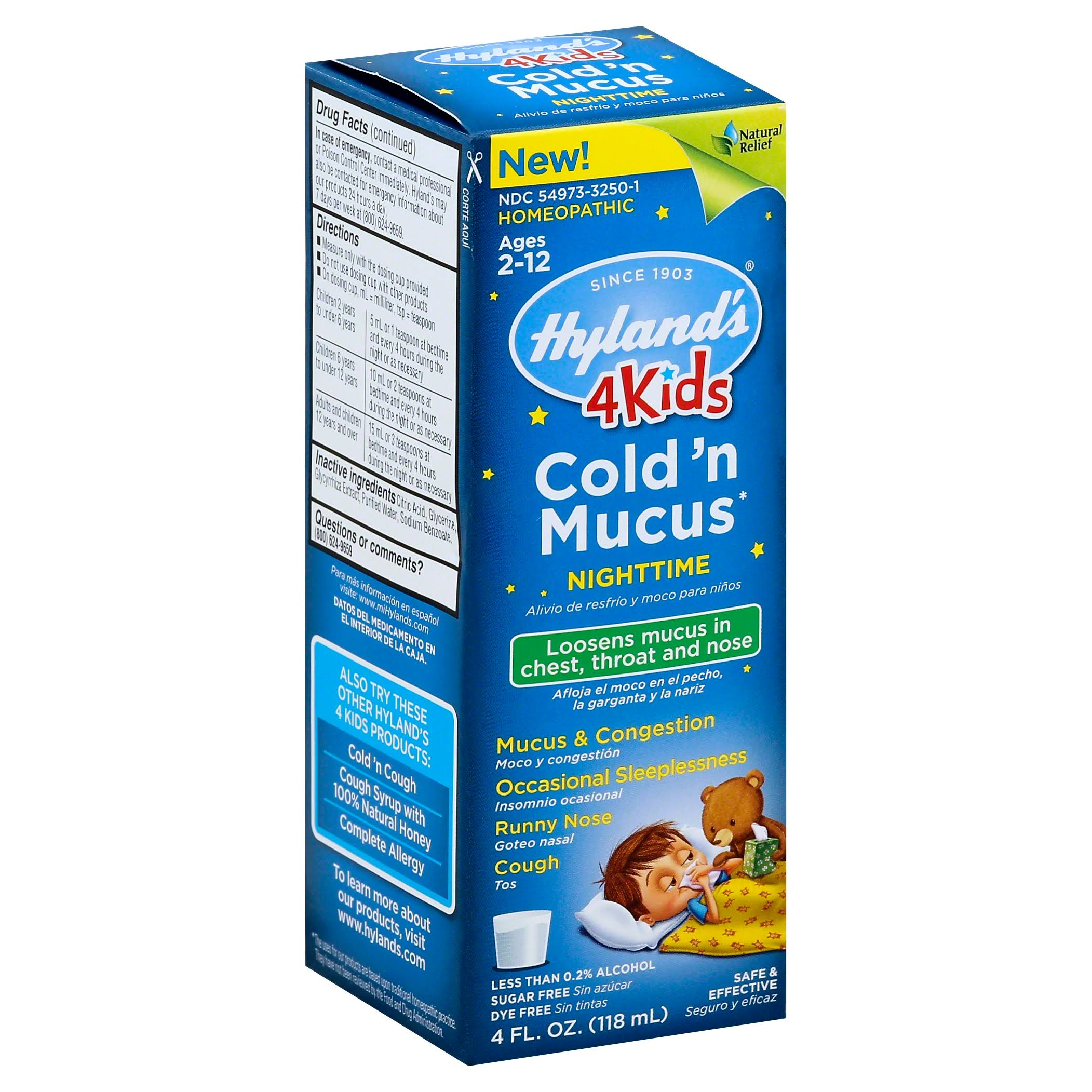 Hyland's 4 Kids Cold 'n Mucus Nighttime Relief - Ages 2-12, 4oz