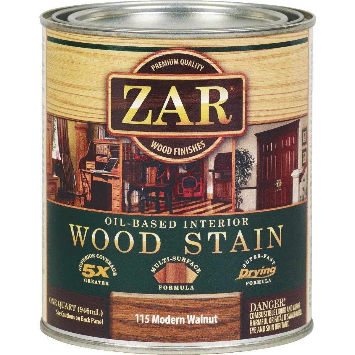 Zar Interior Oil Based Wood Stain - 115 Modern Walnut, 1 Quart