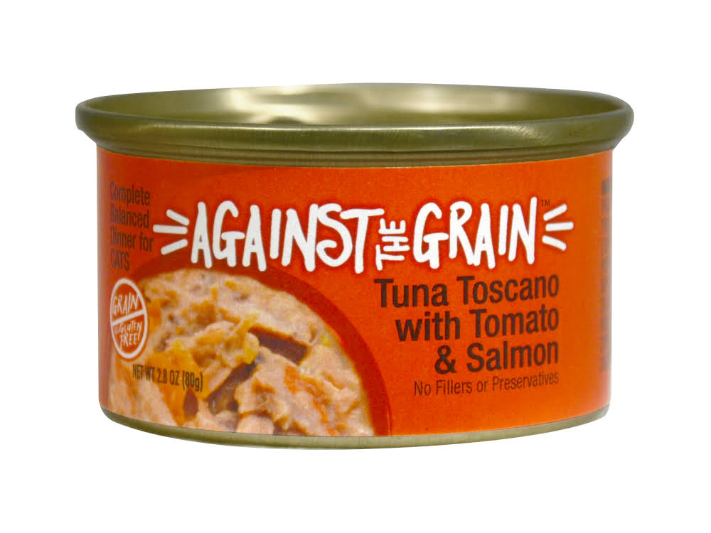 Against The Grain Farmers Market Grain Free Tuna Toscano with Salmon & Tomato Canned Cat Food - 2.8-oz, Case of 24