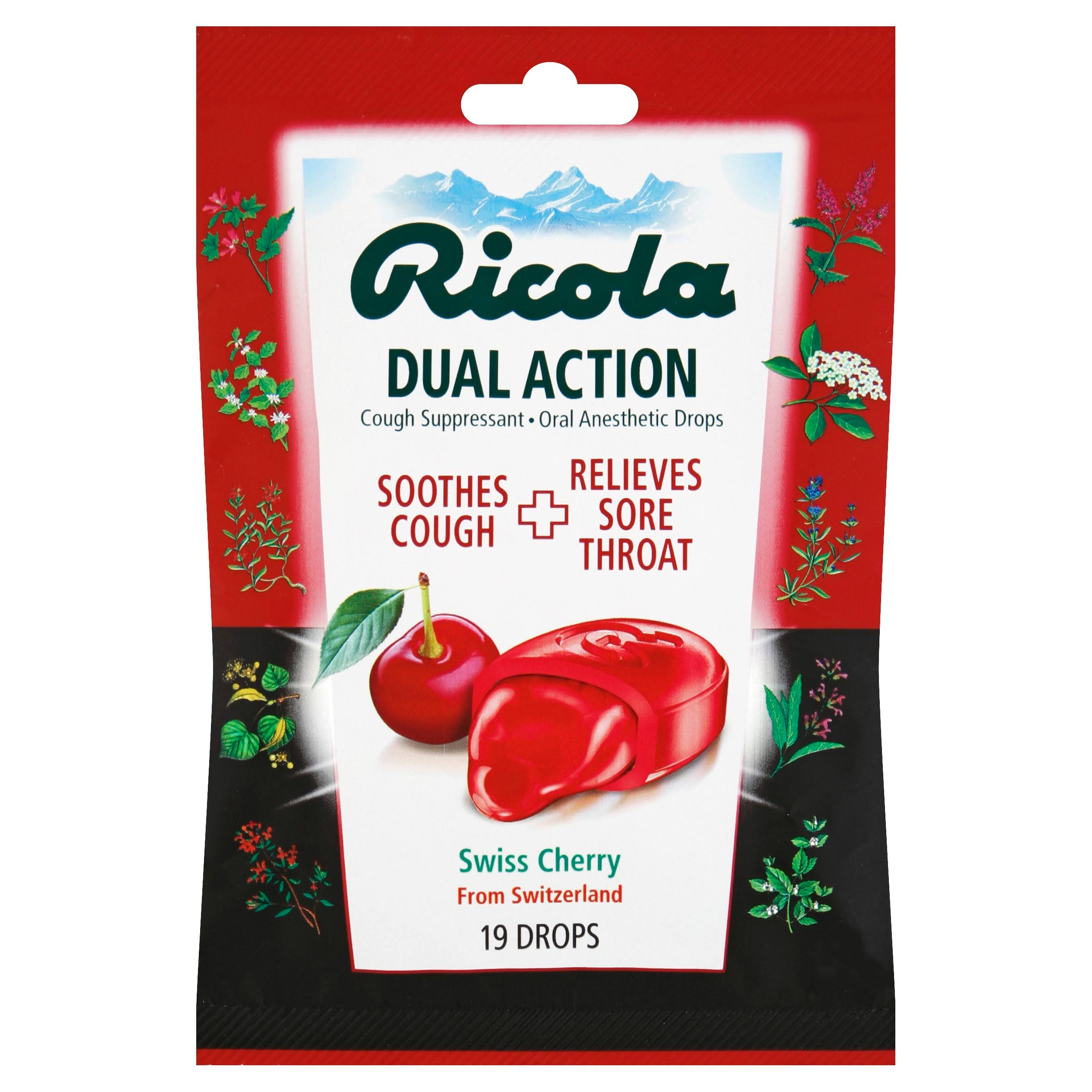 Ricola Dual Action Cough Drops - Cherry, 19 Pack