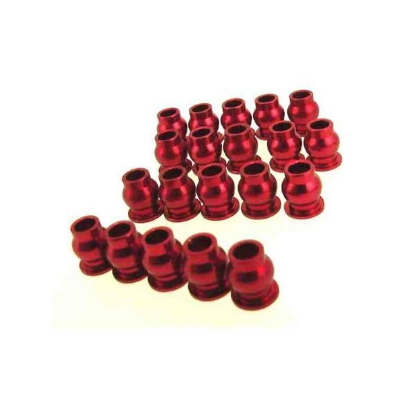 Hot-racing SCP160B02 Aluminum Suspension Pivot Balls - Red, 20ct