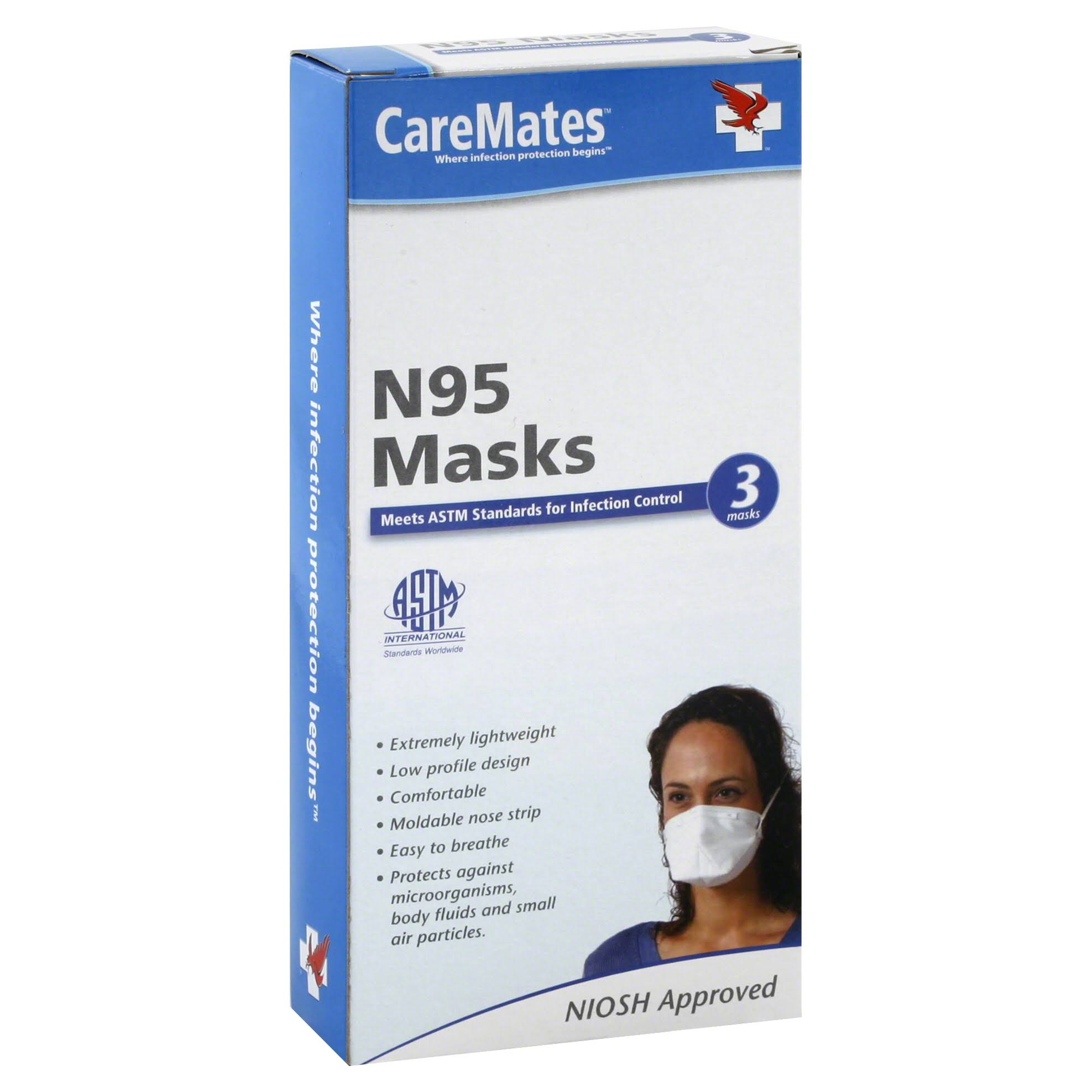 CareMates Masks, N95 - 3 masks