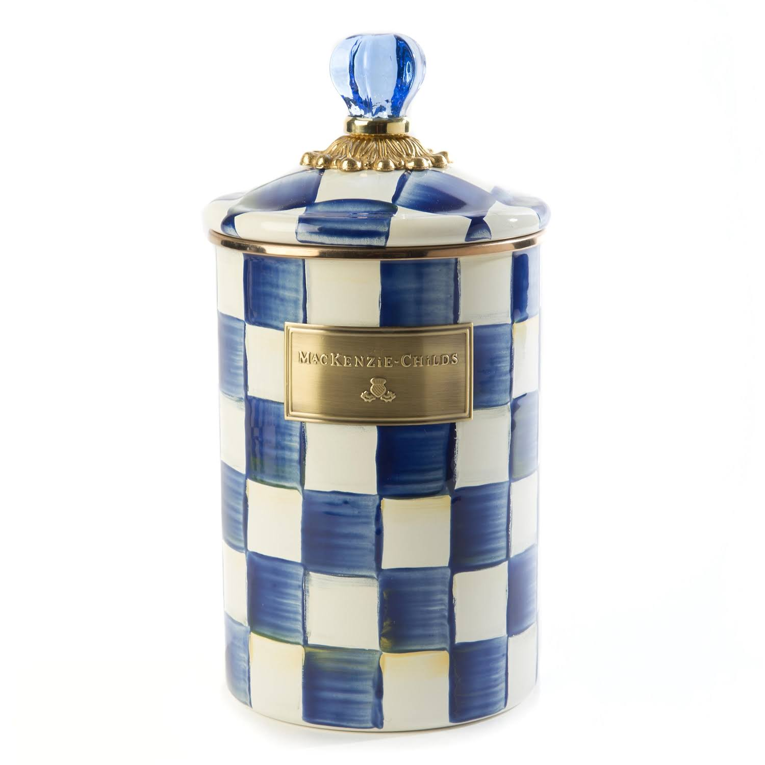 Mackenzie Childs Royal Check Enamel Canister - Large