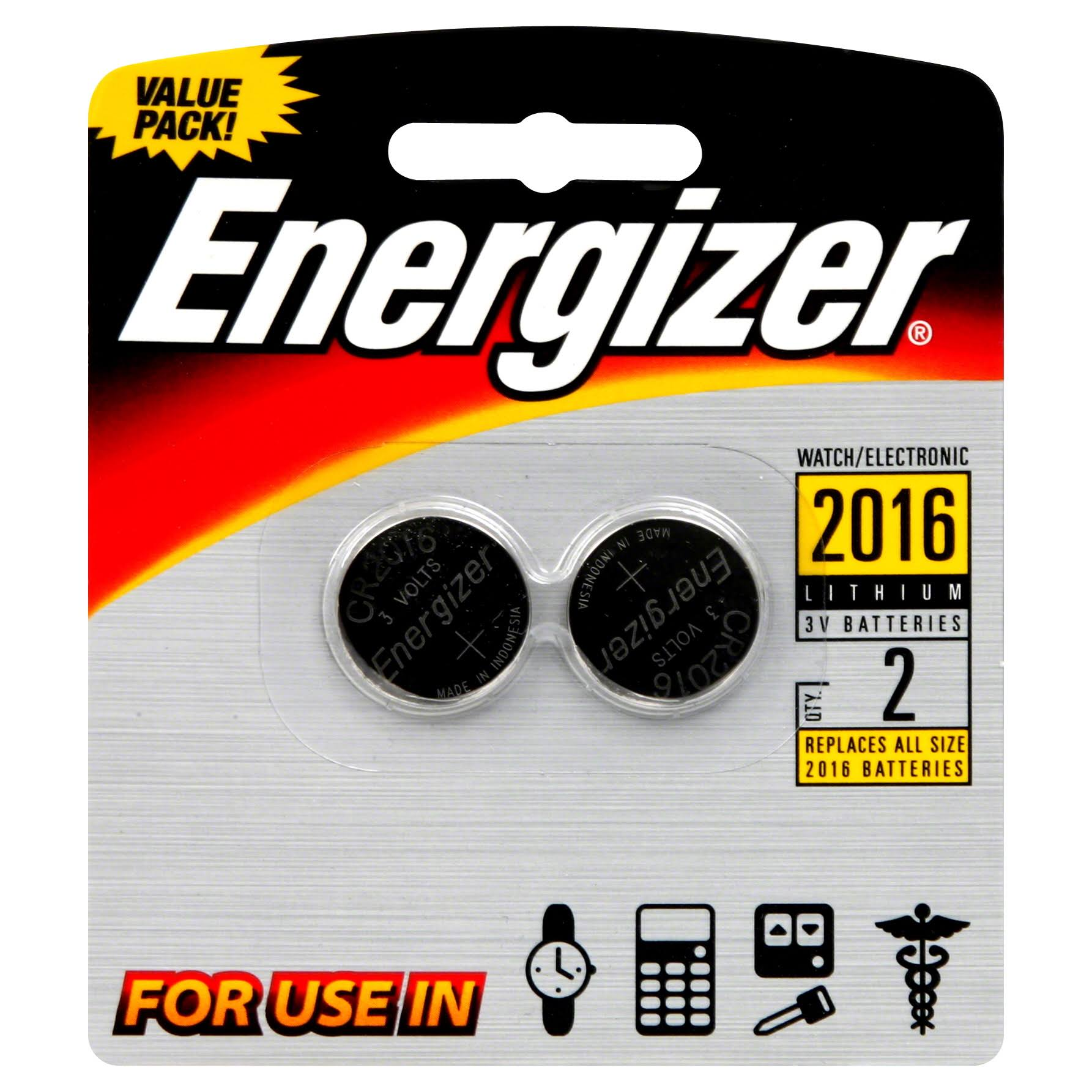 Energizer 2016 Button Cell Battery - 2pk, 3V, Lithium