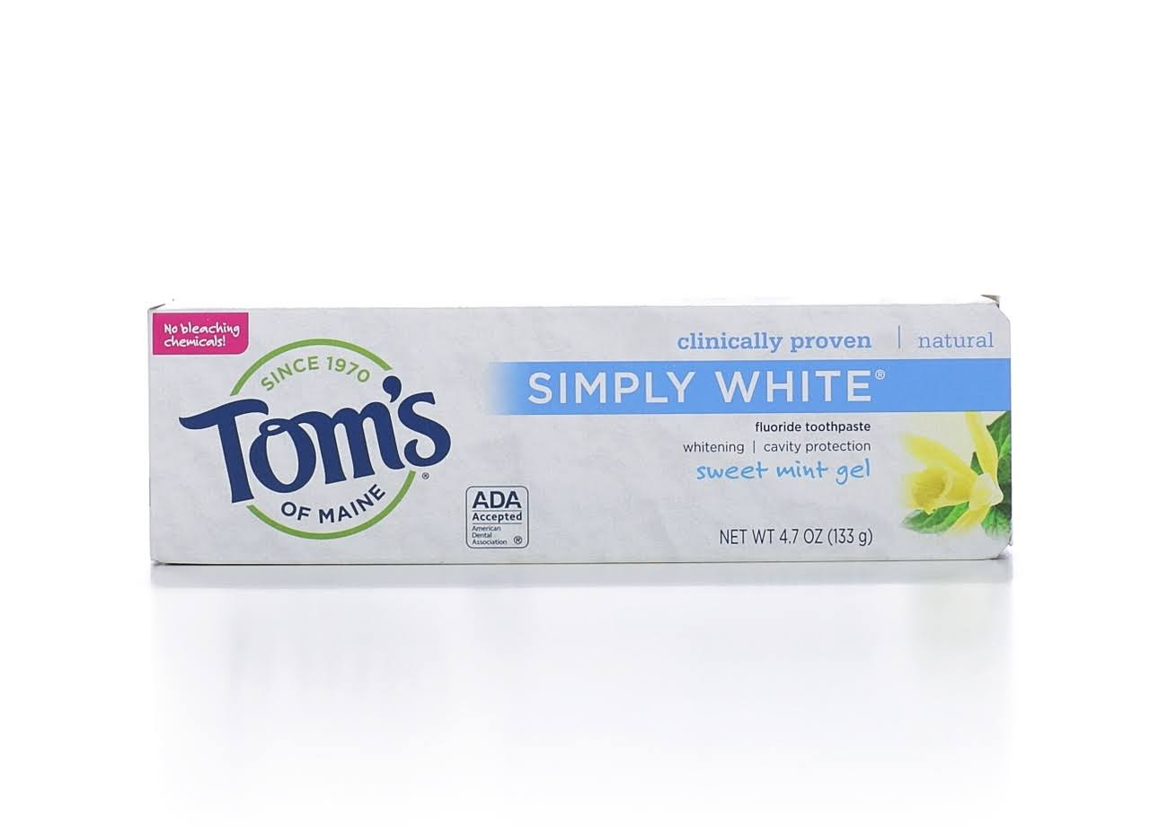 Tom's of Maine Simply White Toothpaste - Sweet Mint Gel, 133g