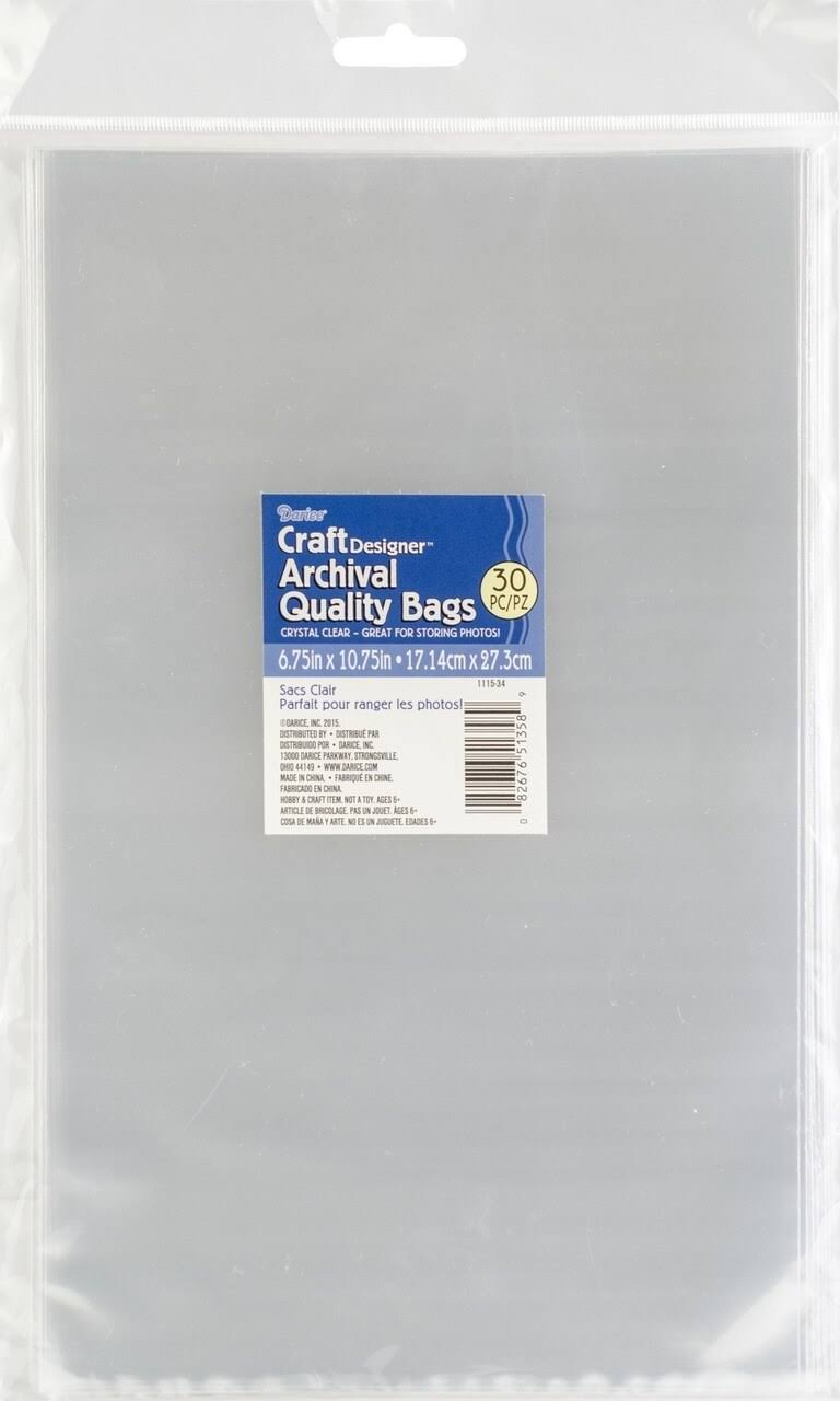 "Darice Open Top Plastic Bags 30/Pkg 6.75""X10.75"" Clear"