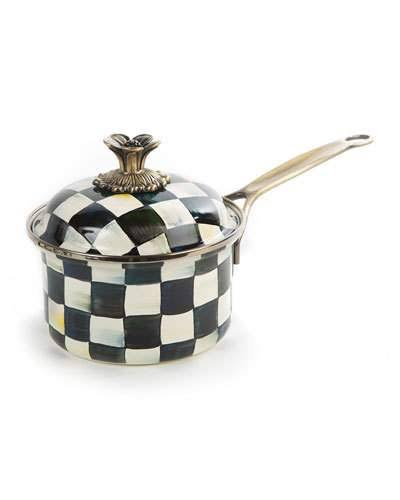 MacKenzie-Childs Courtly Check Enamel 1 qt. Saucepan