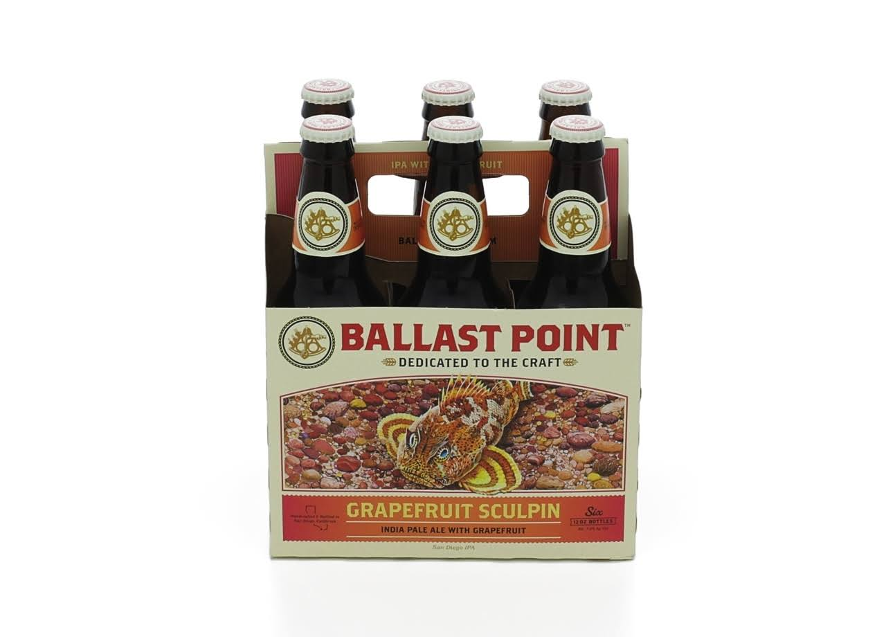 Ballast Point Beer, India Pale Ale, Grapefruit Sculpin - 6 pack, 12 oz bottles