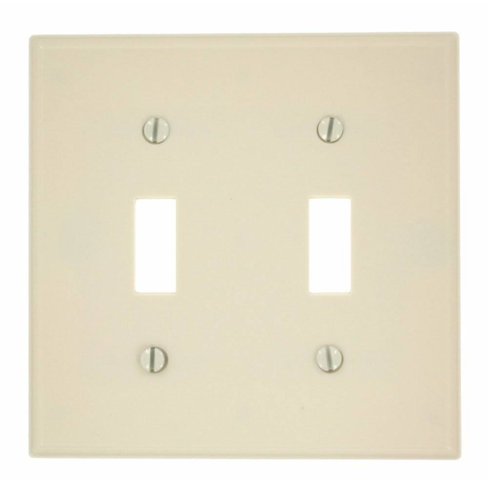 Leviton 2 Gang Light Toggle Wall Plate - Almond Plastic