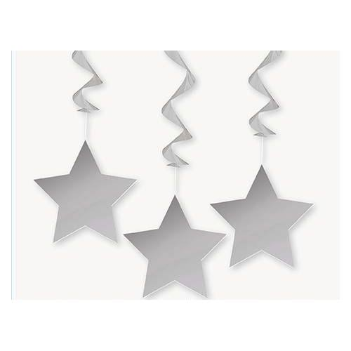 Unique Star Hanging Party Decorations - 3pk, Silver