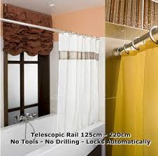 No Drill Window Curtain Rod by Telescopic Shower Curtain Rail Extendable 125 220cm Pole Rod Bath