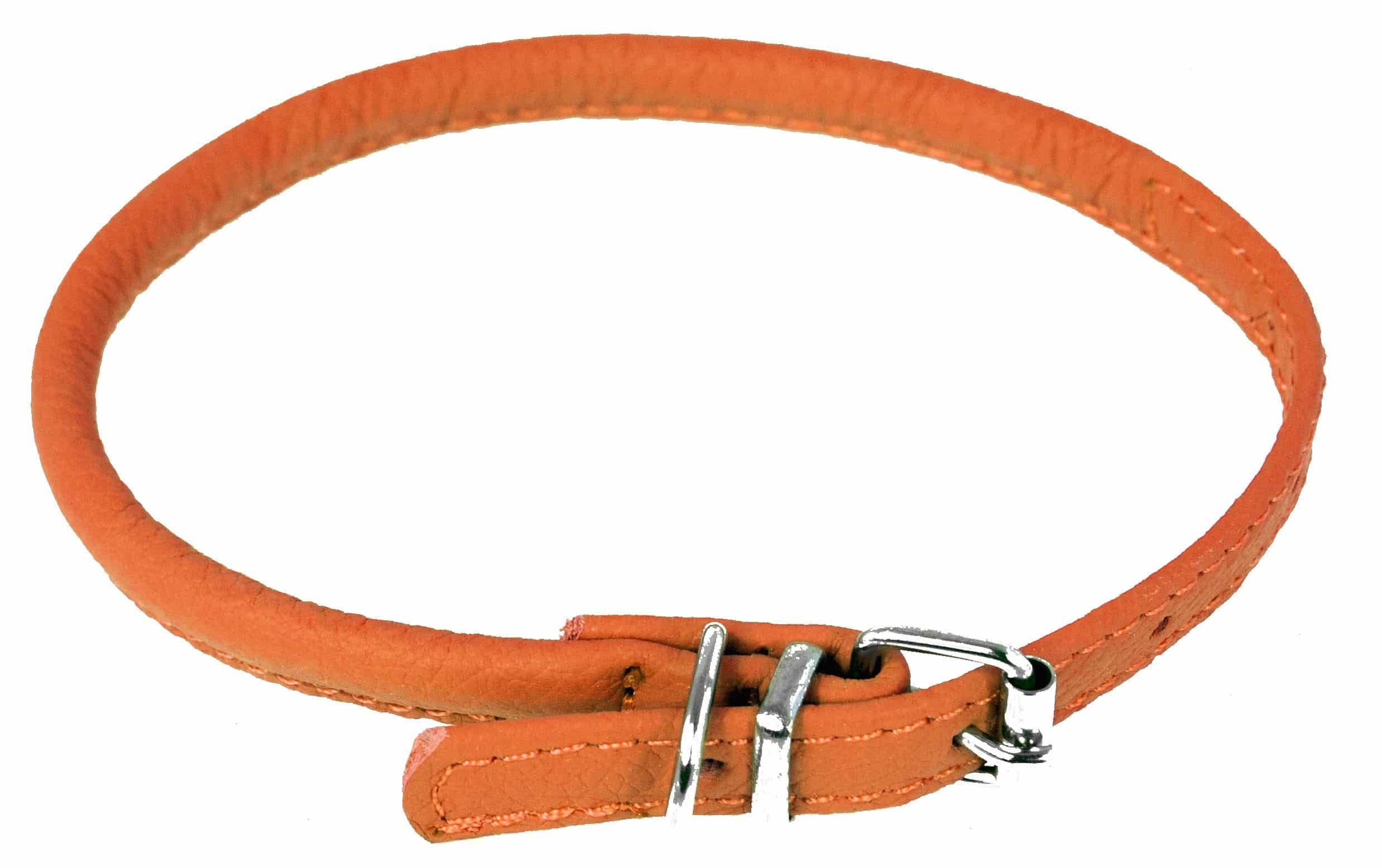 "Dogline Leather Dog Collar - Orange, 1/4"" x 10""-13"""