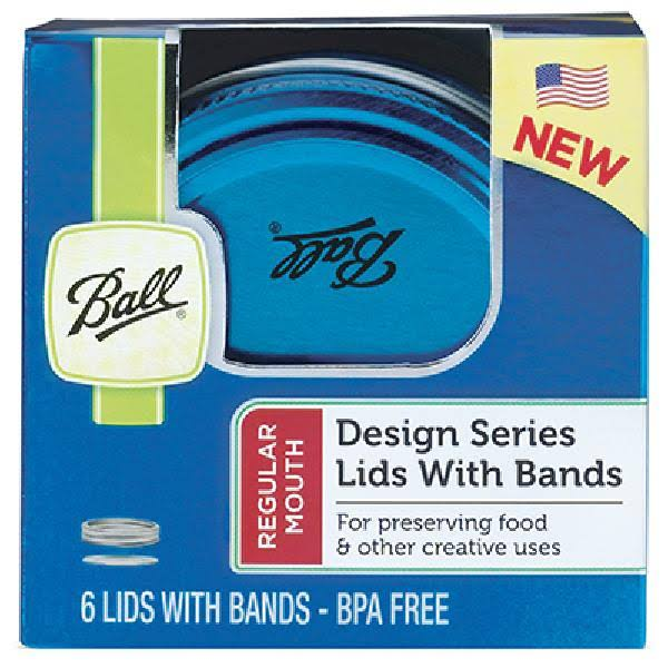 Ball Design Series Lids With Bands - 6 Lids With Bands