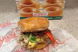 Krispy Kreme Halloween Donuts Calories by At The Fair A Philly Cheese Steak Krispy Kreme Donut Burger