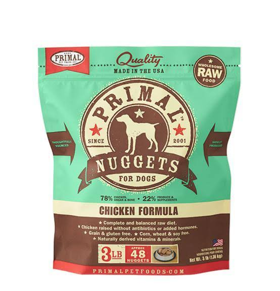 Primal Canine Raw Frozen Dog Food - Chicken Nuggets, 3lb