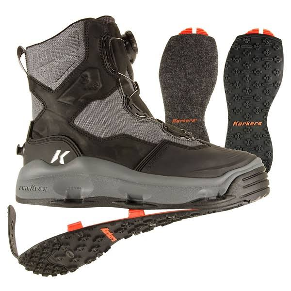 Korkers Darkhorse With Felt and Kling-on Soles Fly Wading Boots - 11 US