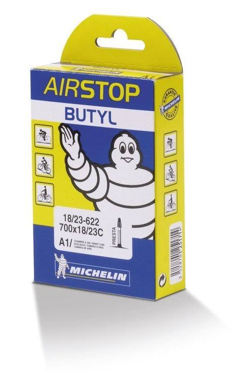 Michelin Airstop Butyl Bicycle Tube - Road One Color, 700 x 18-23C, 52mm Presta Valve