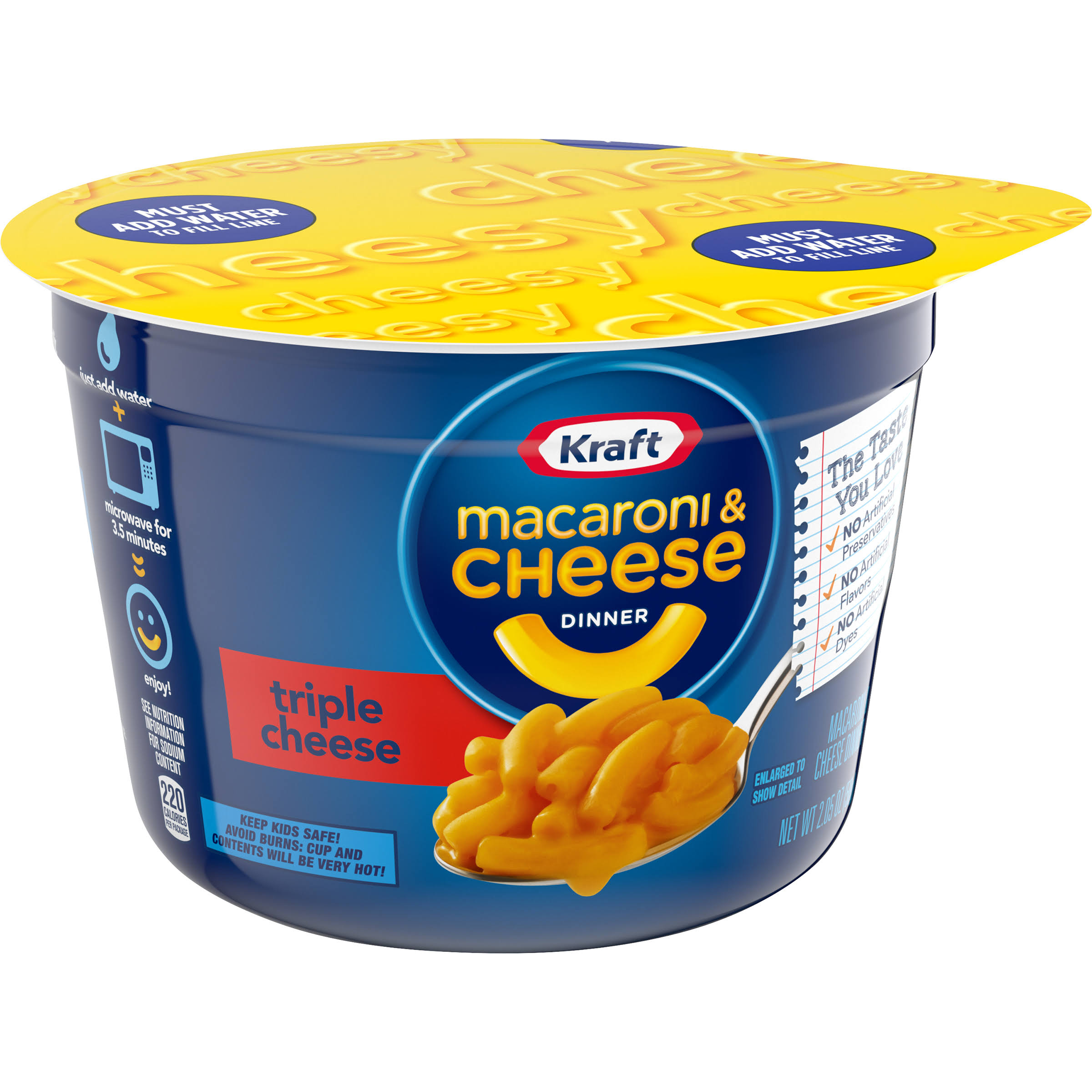 Kraft Macaroni and Cheese Dinner - Triple Cheese, 2.05oz