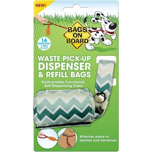 Bags on Board Fashion Dispenser with 14 Bags, Green Chevron