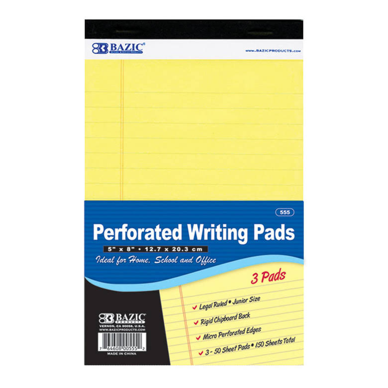 "Bazic 55524 Perforated Writing Pad - 5"" x 8"", Canary, 3pcs"