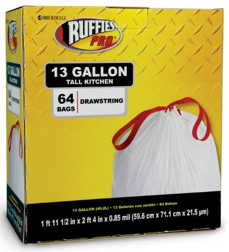 Ruffies Pro Tall Kitchen Drawstring Trash Bags - 64 Bags