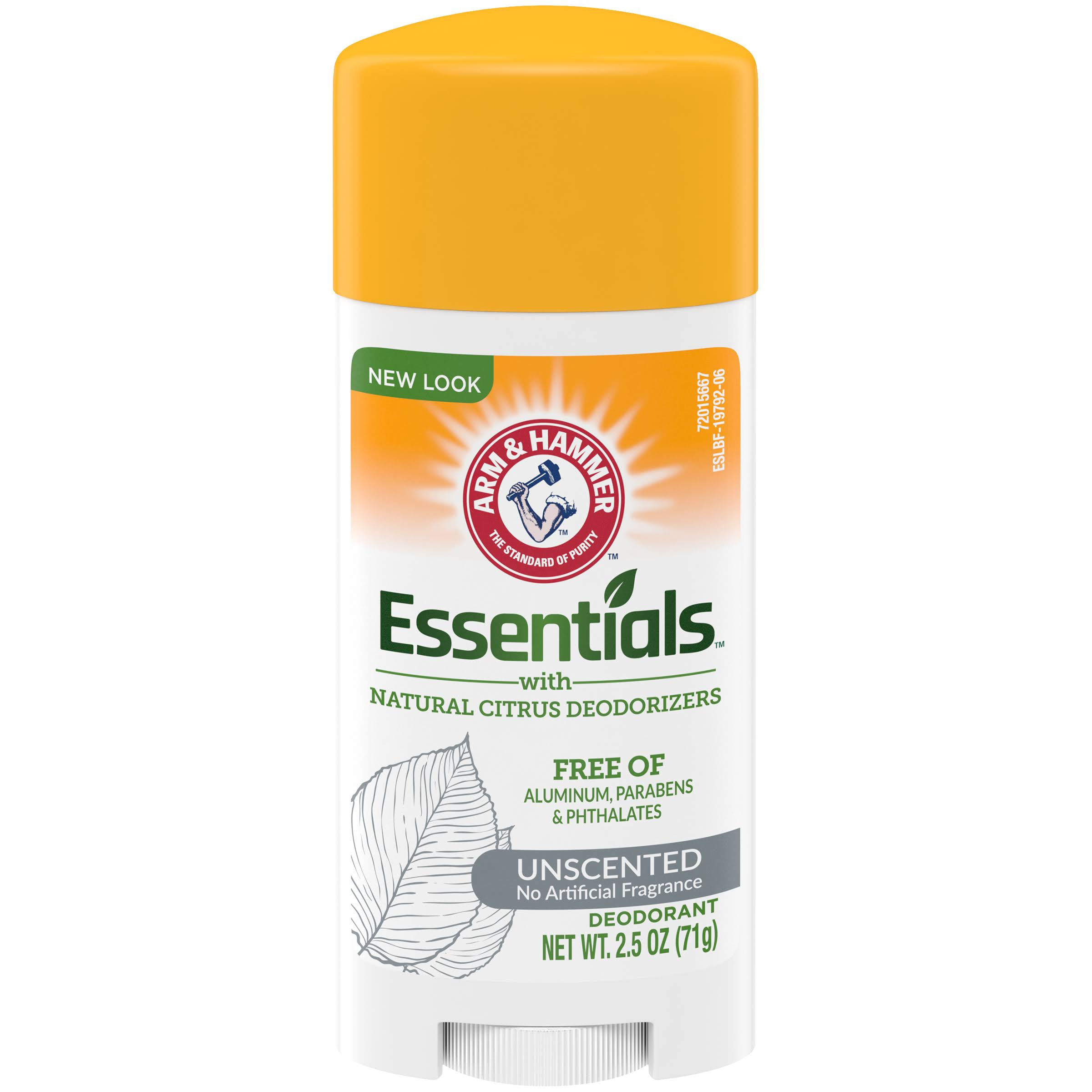 Arm and Hammer Essentials Solid Deodorant - Unscented, 2.5oz