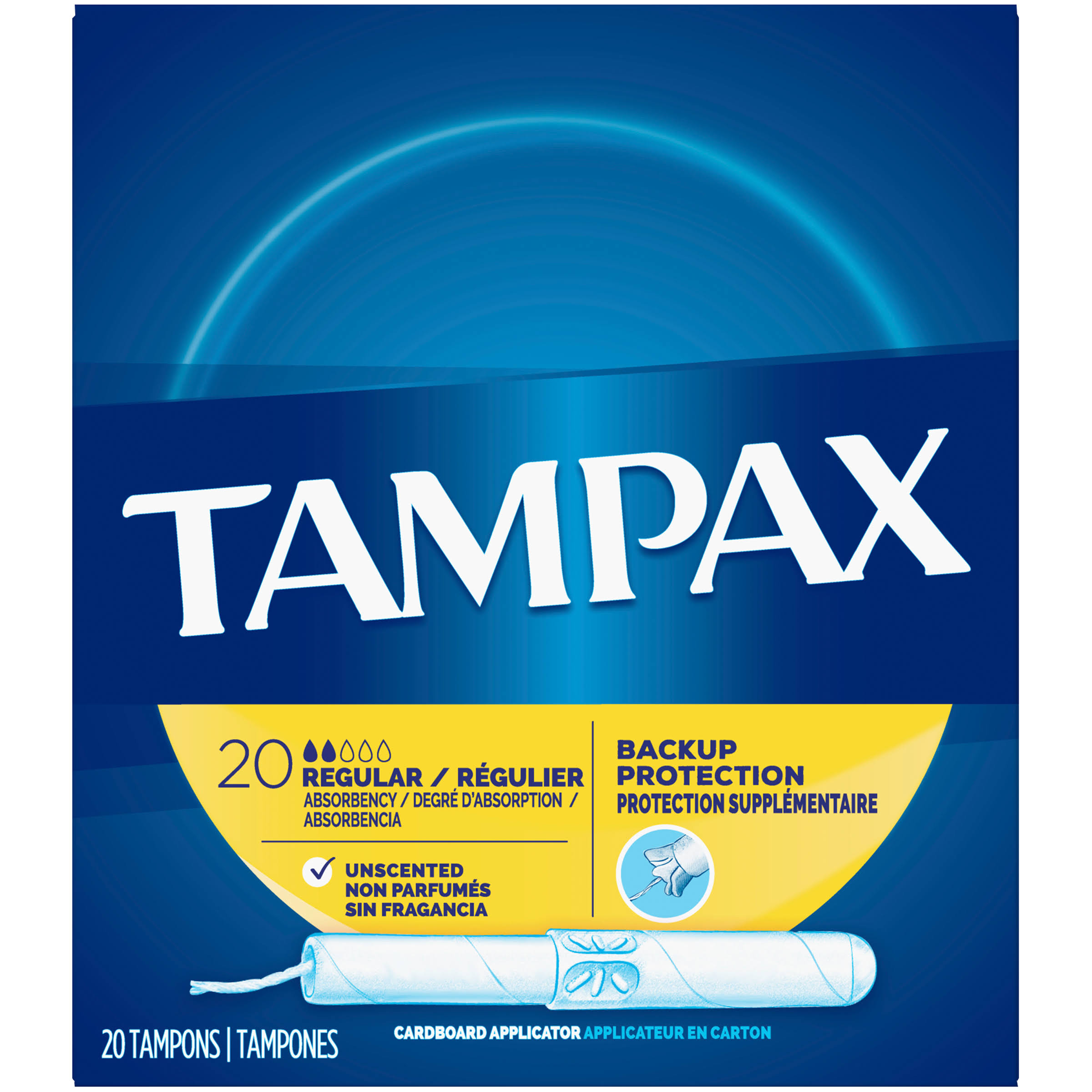 Tampax Cardboard Applicator - 20 Tampons, Regular