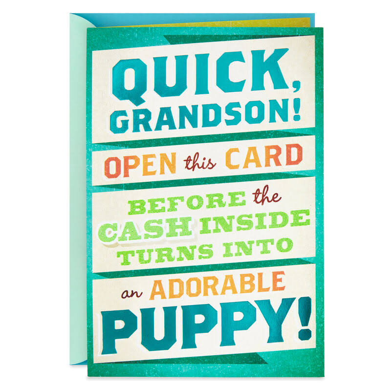 Money or Puppy Funny Birthday Card for Grandson