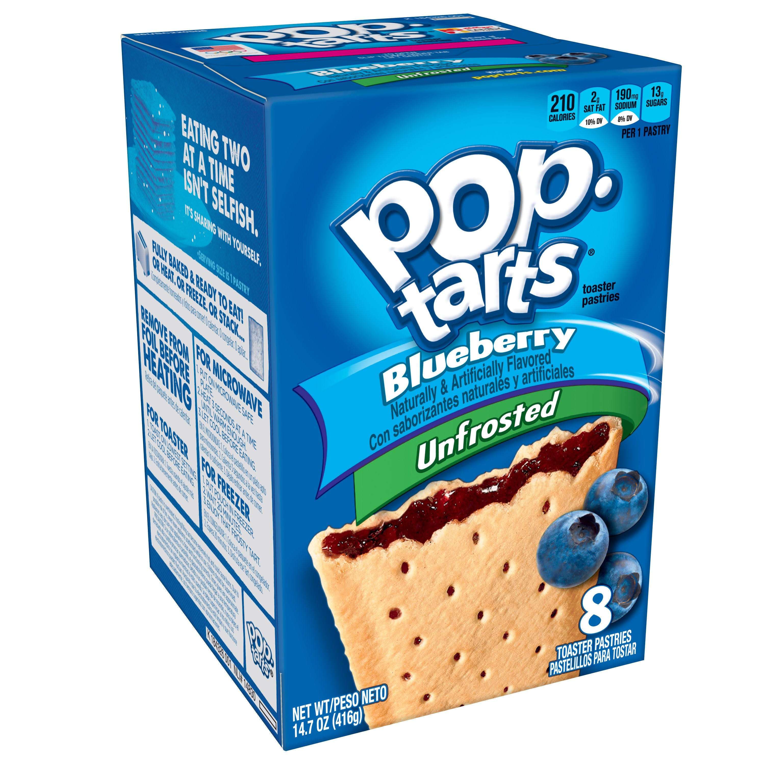 Kellogg's Blueberry Pop Tarts Unfrosted - 1Box, 8ct