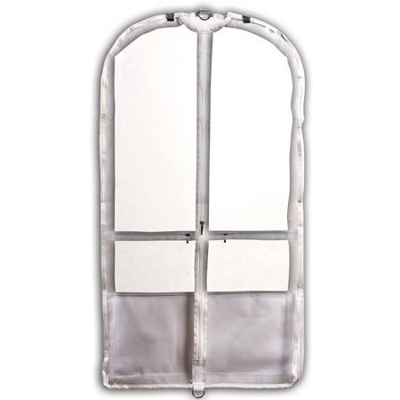 "Danshuz Girls White Trim Pockets Clear Competition Garment Bag 37""x 20""x 3"""