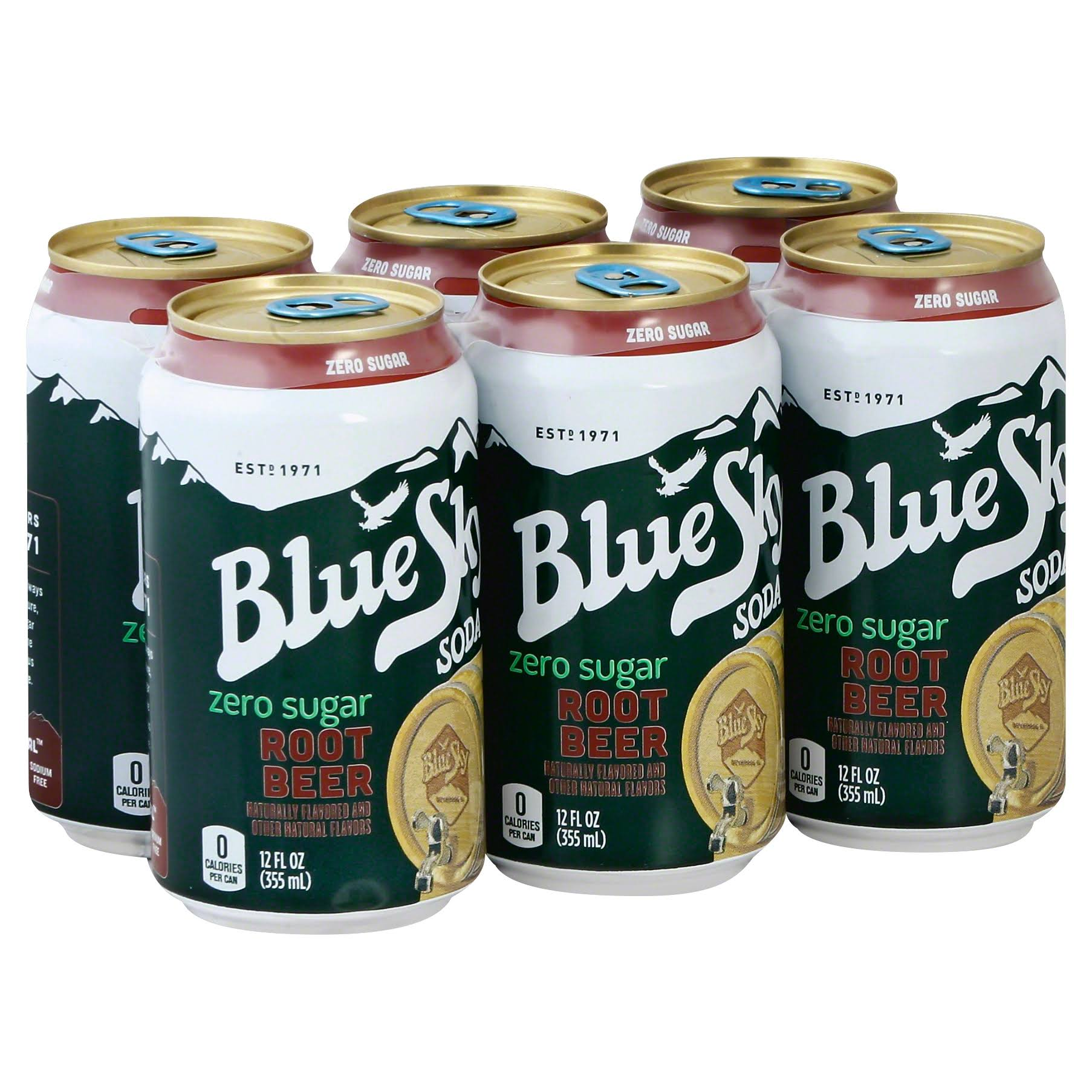 Blue Sky Soda, Zero Sugar, Root Beer - 6 pack, 12 fl oz cans