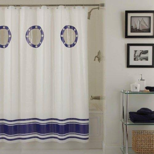 Lorraine Home Fashions Porthole Shower Curtain, 70-Inch by 72-inch