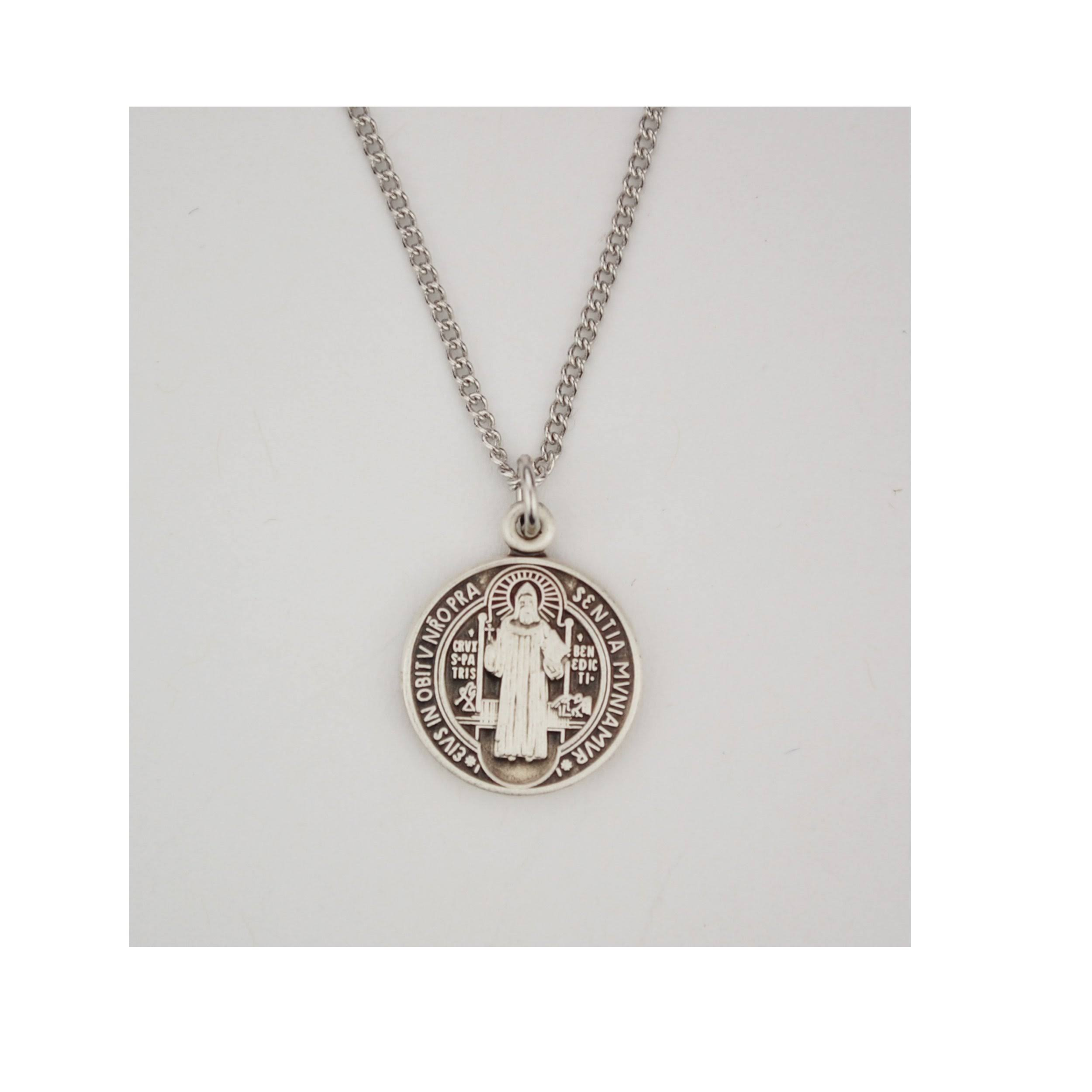 Small Sterling St. Benedict Medal on 16 inch Chain L762
