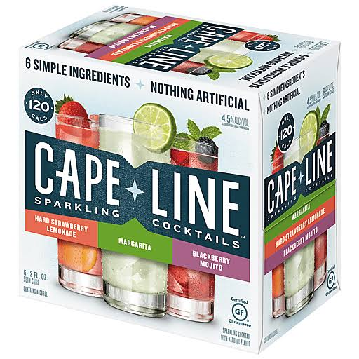 Cape Line Sparkling Cocktails, Hard Strawberry Lemonade, Margarita, Blackberry Mojito - 6 pack, 12 fl oz cans