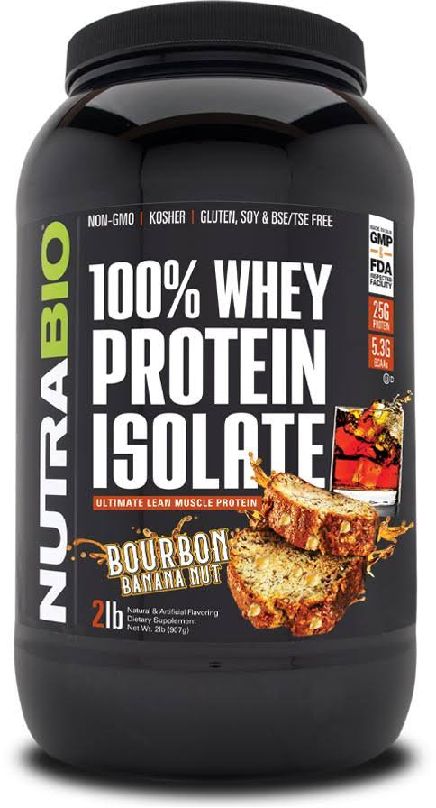 NutraBio 100% Whey Protein Isolate Bourbon Banana Nut 2 lbs