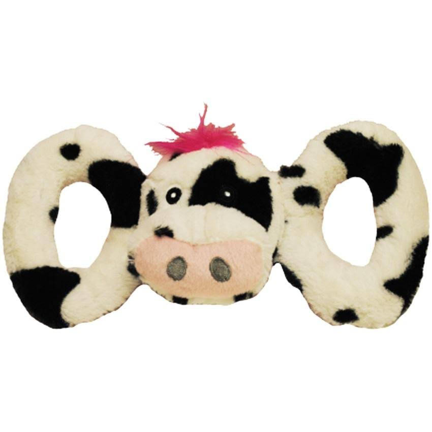 Jolly Pets Tug-a-mals Dog Squeak Toy - Cow, Large, 5""