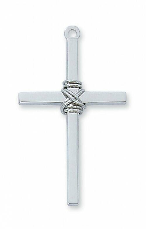 Sterling Silver Cross with Rope on 24 inch Chain