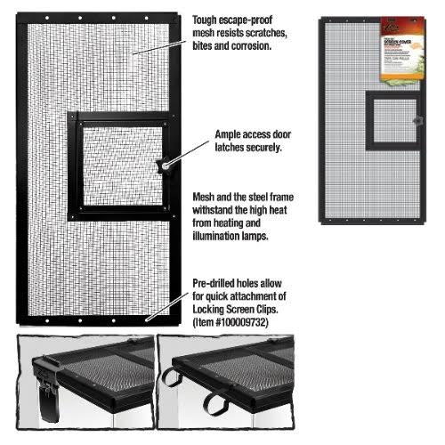 "Zilla Fresh Air Terrarium Metal Screen Cover - with Door, 24""x12"""