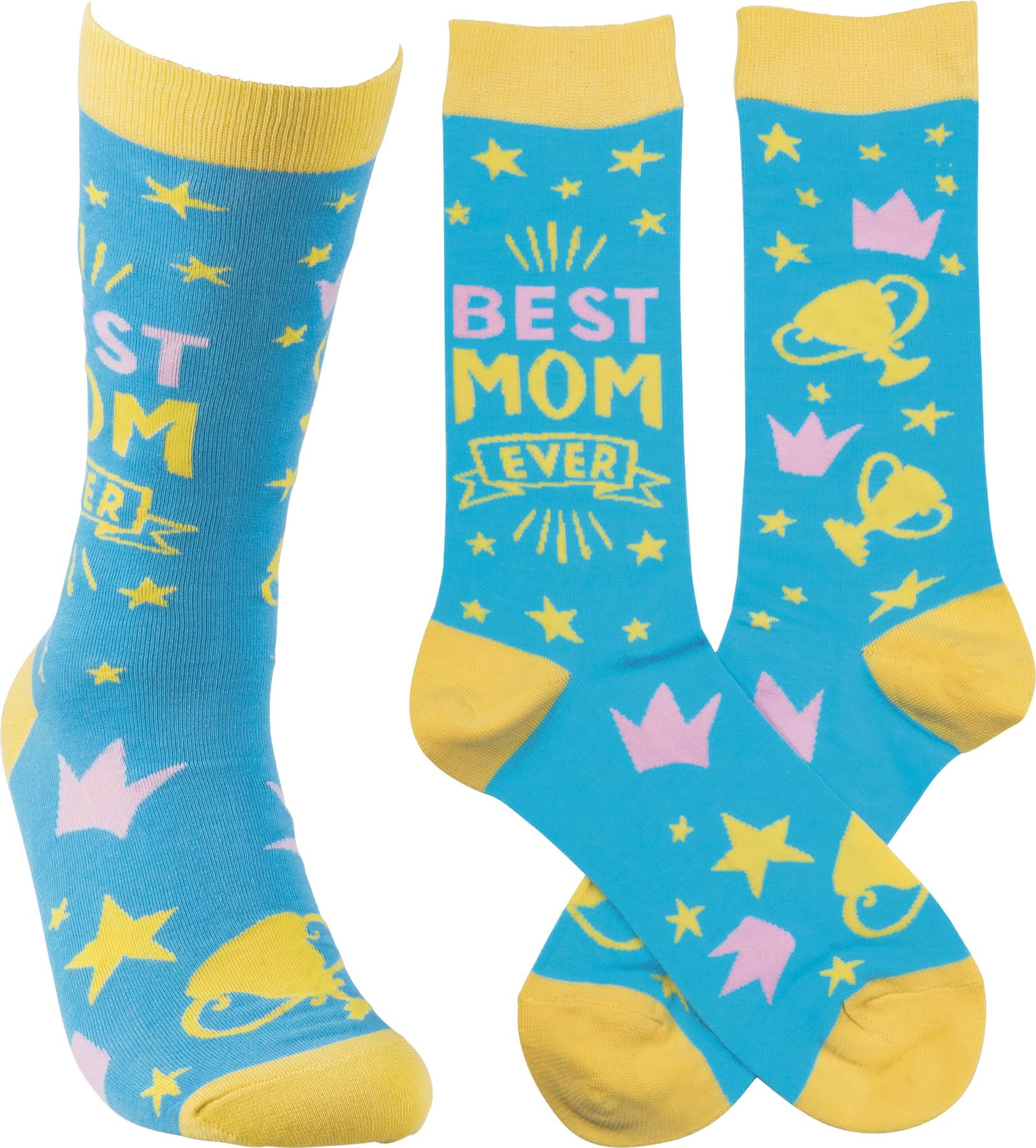 Primitives By Kathy High Socks - Best Mom, Blue, Yellow
