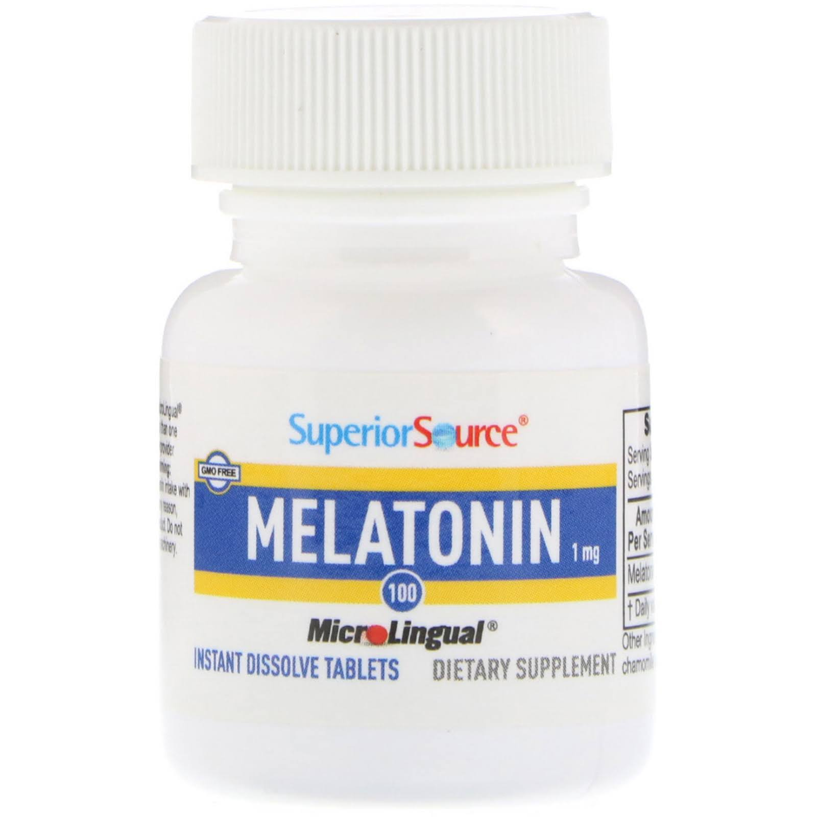 Superior Source Melatonin Instant Dissolve 1mg Dietary Supplement - 100 Tablets