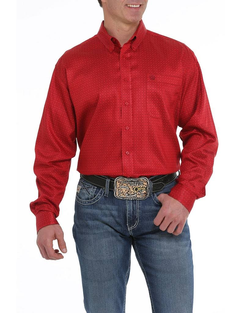 Mens Cinch Deep Red Printed Long Sleeve Button Up Shirt - 547063