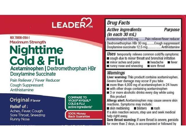 Leader Max Strength Cold & Flu Liquid 8oz