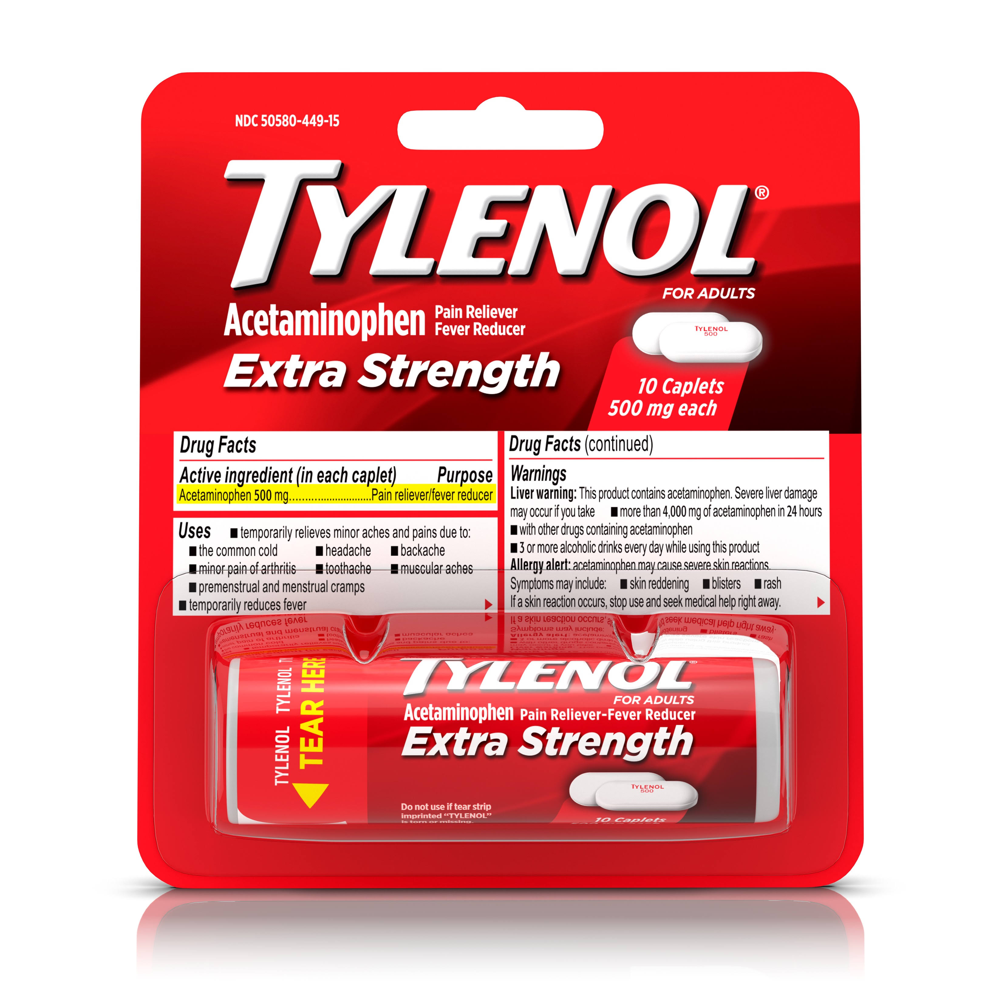 Tylenol Extra Strength Caplets - 10 Count