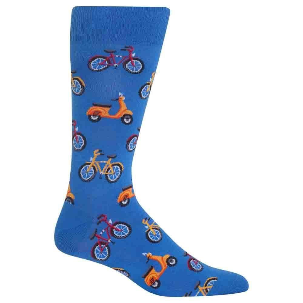 Hot Sox Blue Men's Bike and Vespa Crew Socks