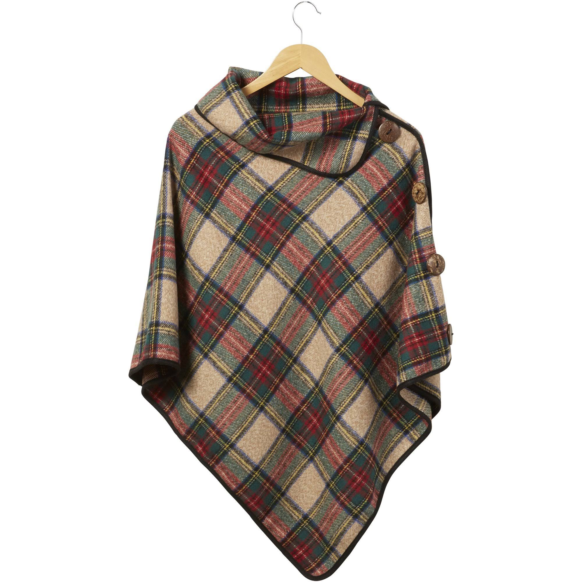 Tickled Pink Spiced Wine Patrick Plaid Button Poncho