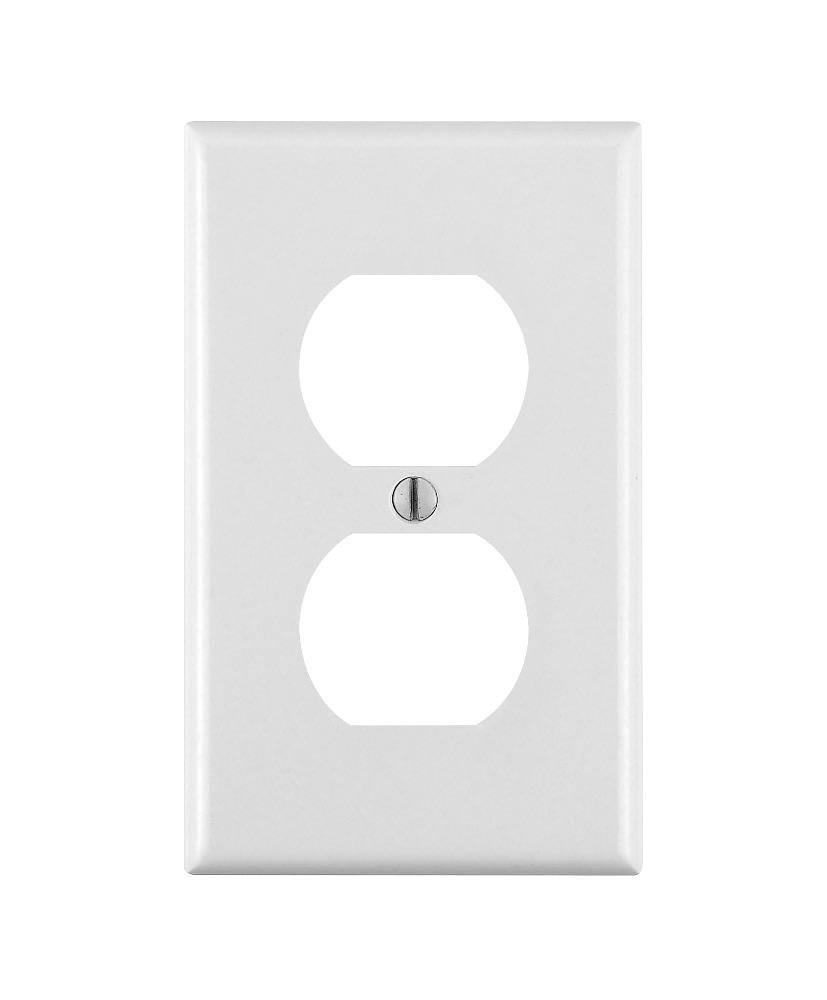 Leviton Plastic Duplex Outlet Wall Plate - White, 1 Gang, 10ct