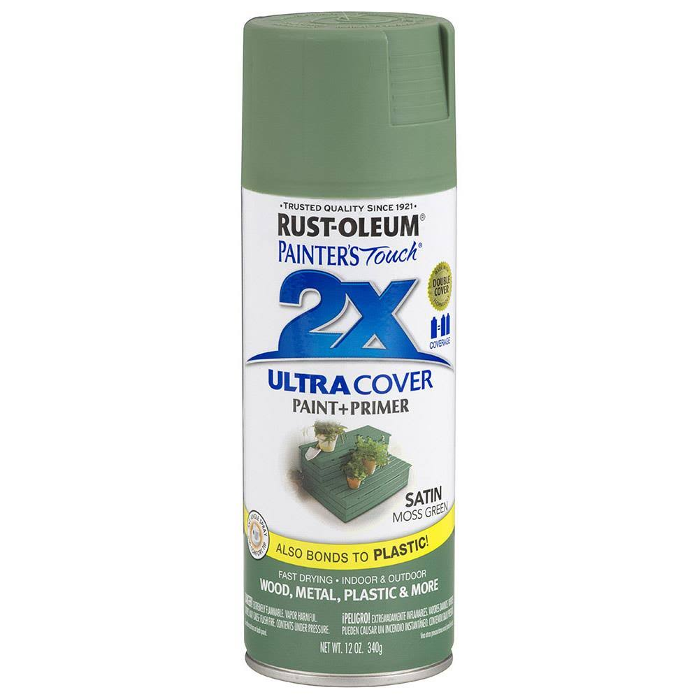 Rust-Oleum Painter's Touch Ultra Cover 2X Multi Purpose Spray Paint - Satin Moss Green, 12oz
