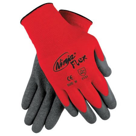 MCR Safety Coated Gloves - Gray and Red, Small
