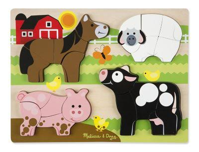Melissa and Doug Farm Animals Wooden Chunky Jigsaw Puzzle - 20pc